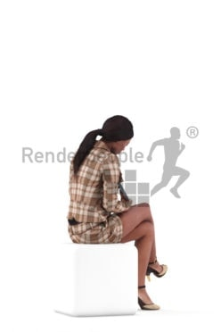3D People model for 3ds Max and Cinema 4D – black woman in business look, checking something on the tablet, sitting