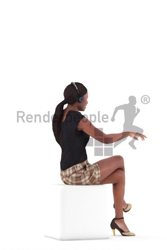 3D People model for 3ds Max and Cinema 4D – black woman in business look, with a headset