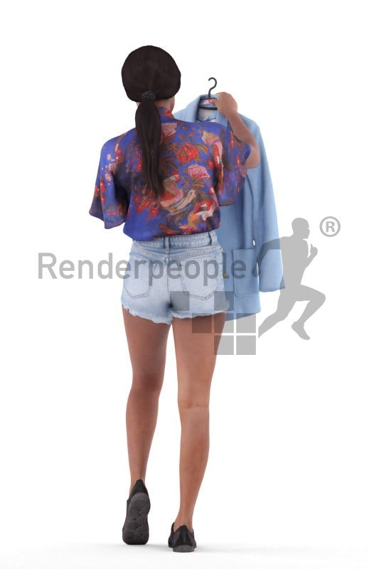 Photorealistic 3D People model by Renderpeople – black woman in smart casual outfit, looking for a jacket