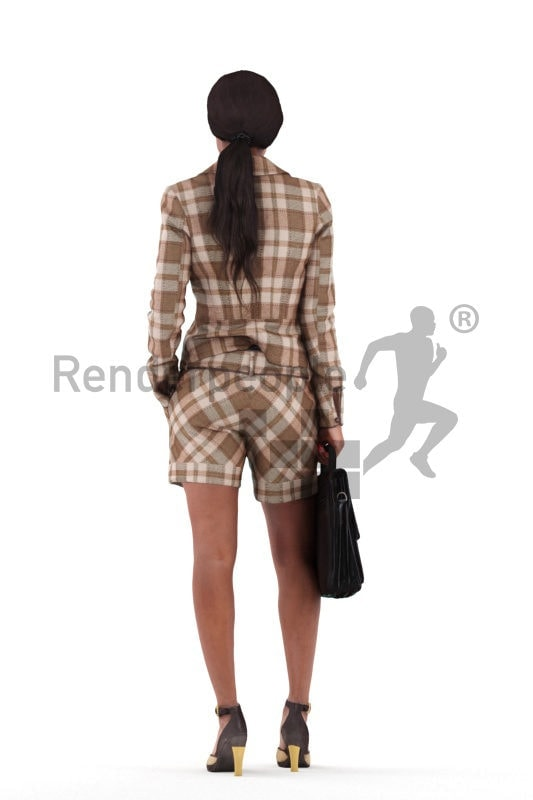 Photorealistic 3D People model by Renderpeople – black woman in smart casual look, standing with a business bag