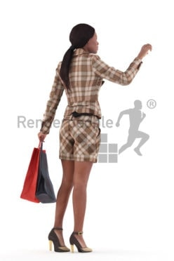 Photorealistic 3D People model by Renderpeople – black woman in smart casual look, walking in the mall and looking for something