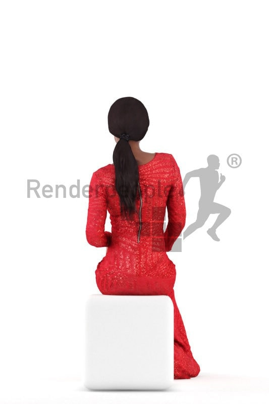 Posed 3D People model for renderings – black woman in long red event dress, sitting