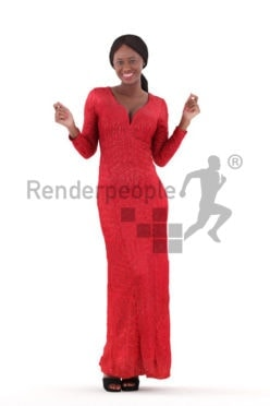 Posed 3D People model for renderings – black woman in long red event dress, dancing