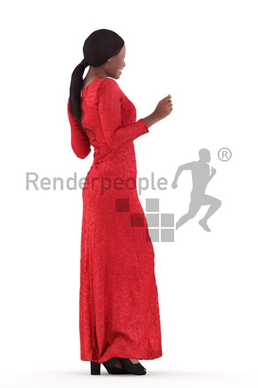 Posed 3D People model for renderings – black woman in long red event dress, dancing