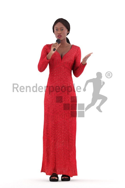 Posed 3D People model by Renderpeople – black female standing in an event dress, moderating an event