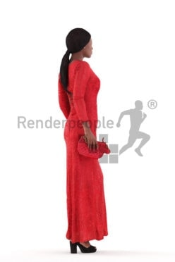 Posed 3D People model by Renderpeople – black female walking in an event dress, holding a clutch