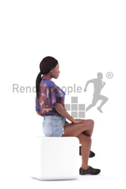 Posed 3D People model for visualization – black woman in casual summer outfit , sitting