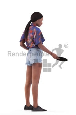 Posed 3D People model for visualization – black woman in casual summer outfit preparing the table