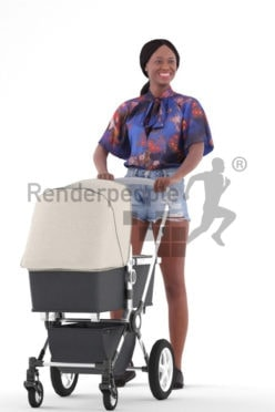 3D People model for 3ds Max and Maya – black woman in daily outfit, carrying a buggy