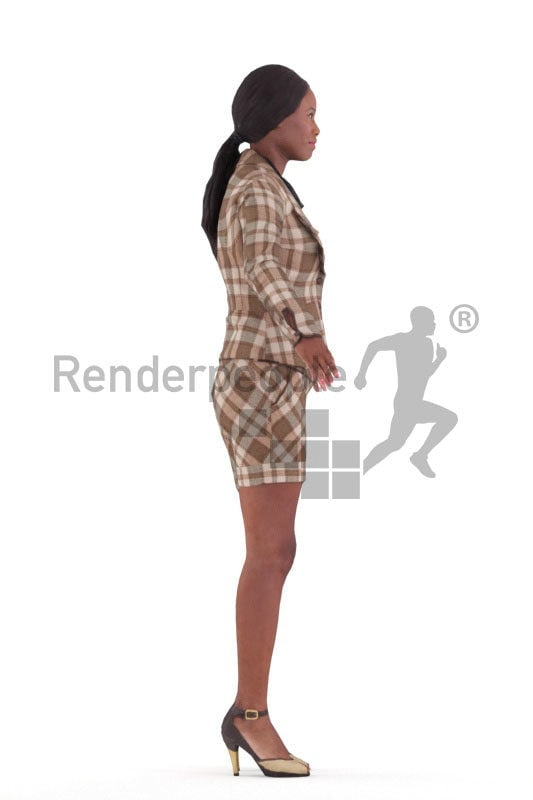 Rigged and retopologized 3D People model – black woman in buisness clothing