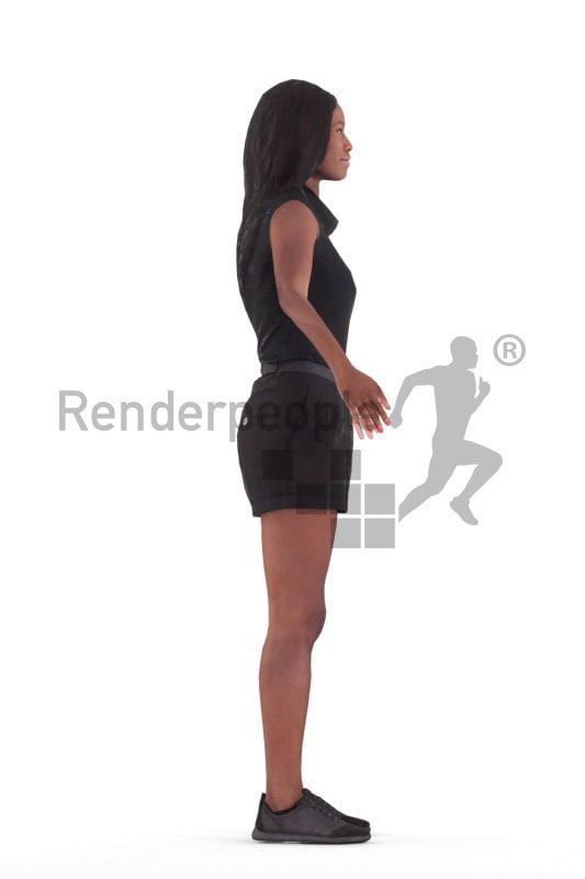 Rigged 3D People model for Maya and Cinema 4D – black woman in casual summer look