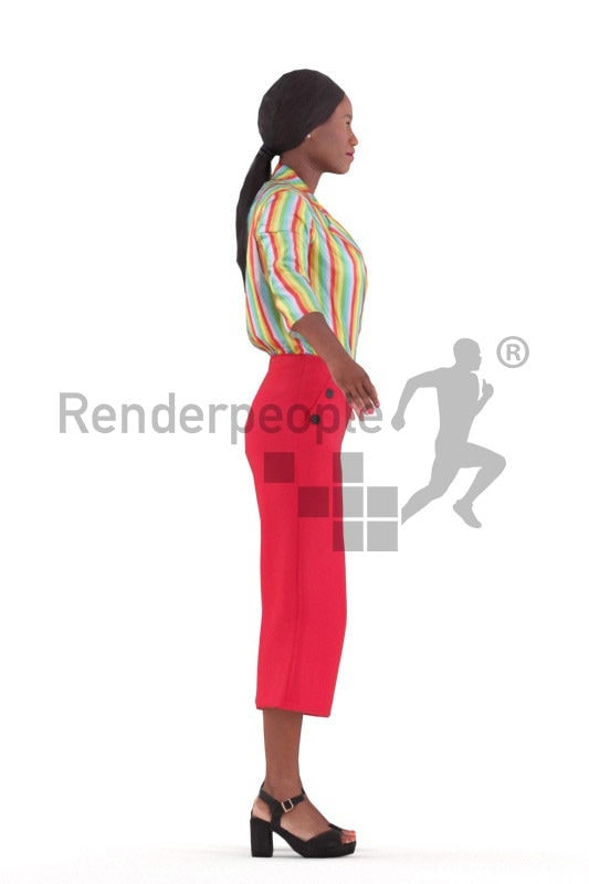 Rigged and retopologized 3D People model – black woman in office clothing