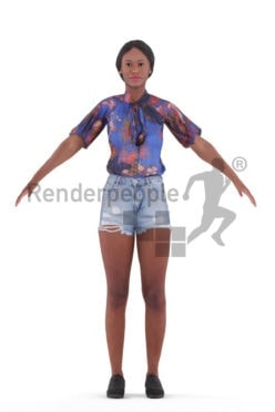 Rigged 3D People model for Maya and 3ds Max – black woman in casual summer look