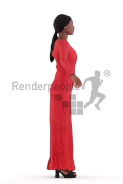 Rigged 3D People model for Maya and 3ds Max – black woman in event dress