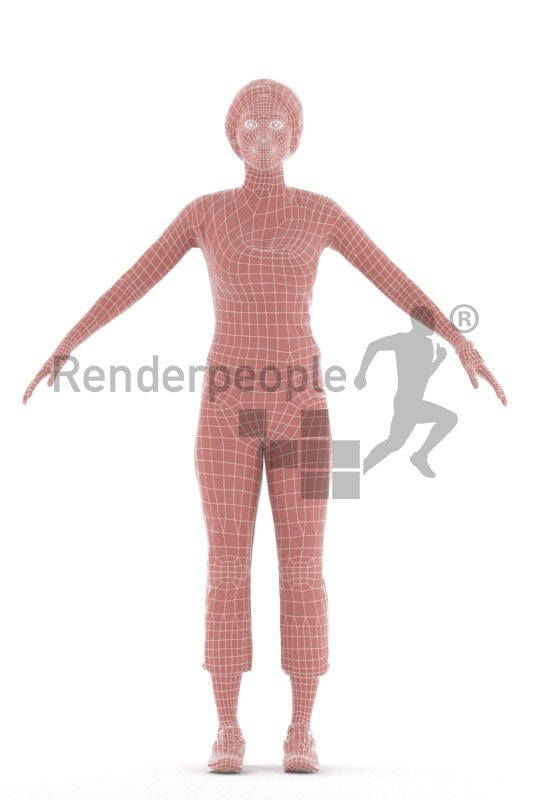 Rigged and retopologized 3D People model – black woman, smart casual