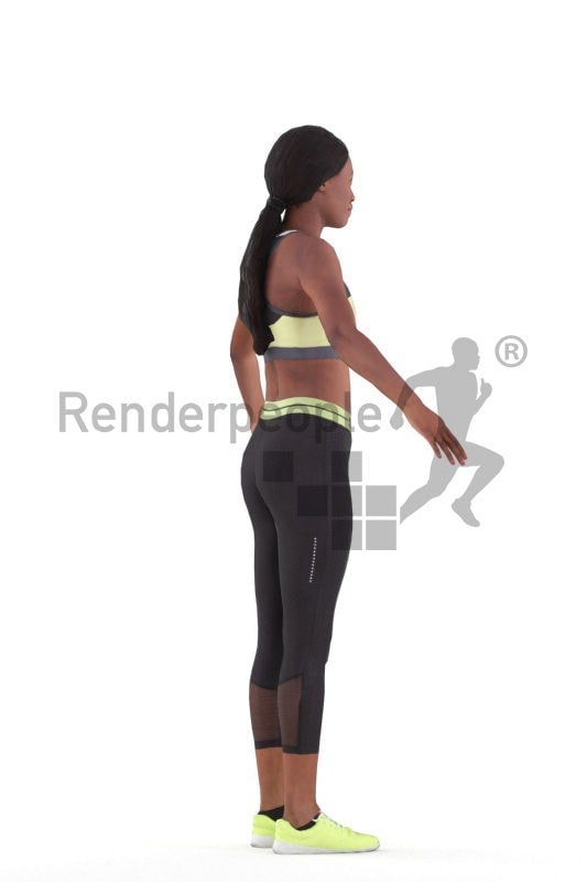 3d people sports, 3d black woman rigged
