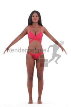 Rigged 3D People model for Maya and 3ds Max – african woman in swimm wear