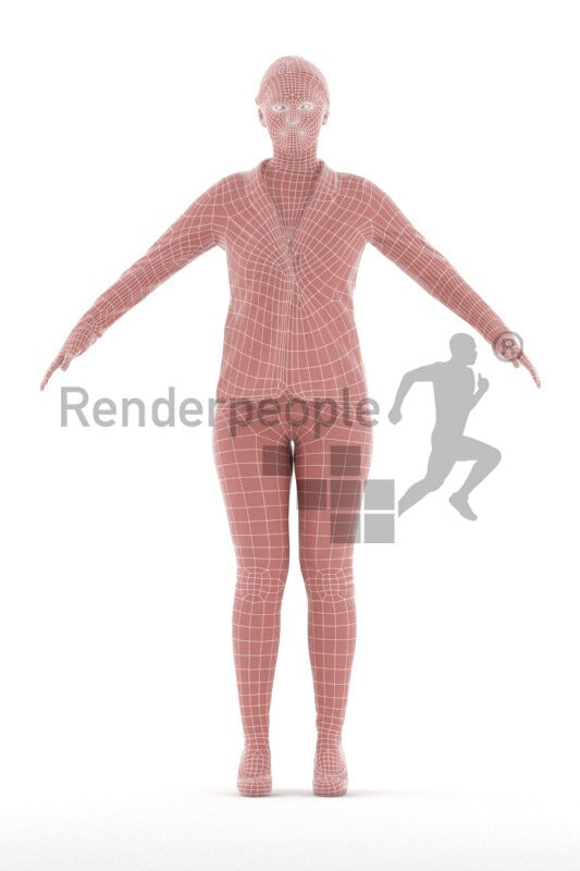 Rigged human 3D model by Renderpeople – eropean female in business look, wearing a blazer and highheels