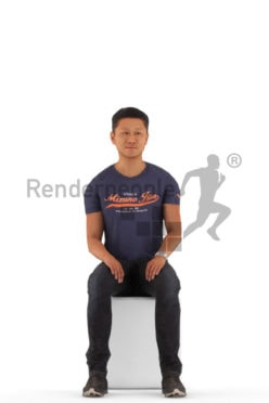 3D People model for animations – asian man in casual tshirt, sitting
