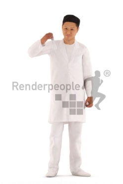 3d people medical, 3d asian man, standing and holding a test tube, animated