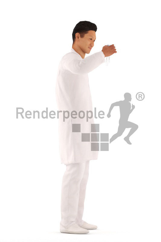 3d people medical, 3d asian man, standing and holding a test tube