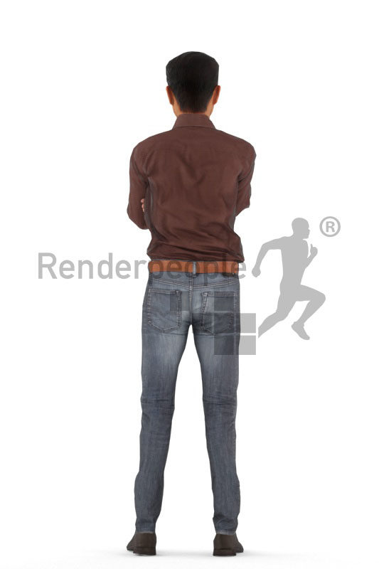 Animated human 3D model by Renderpeople – asian man in office look, standing