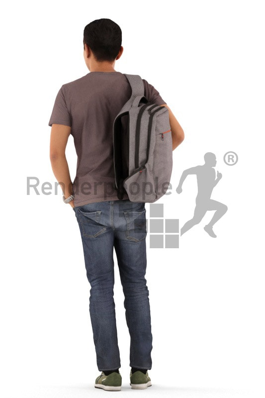 3d people casual, asian 3d man standing and waiting
