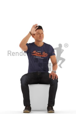 3d people casual, asian 3d man sitting and waving