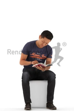 3d people casual, asian 3d man sitting and reading