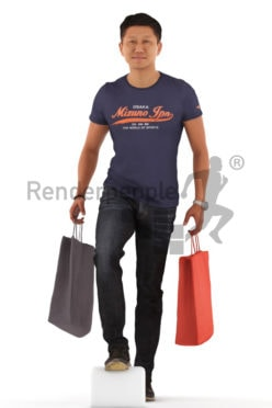 3d people casual, asian 3d man walking and carrying shopping bags
