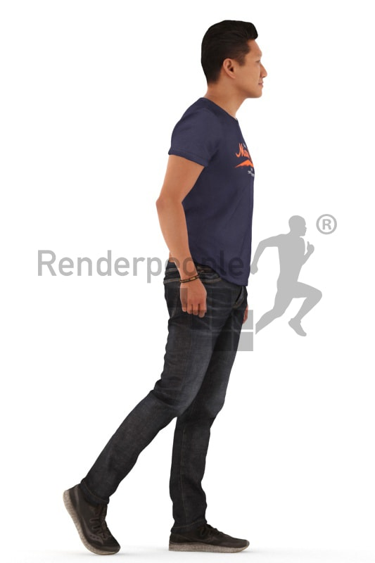 3d people casual, asian 3d man walking