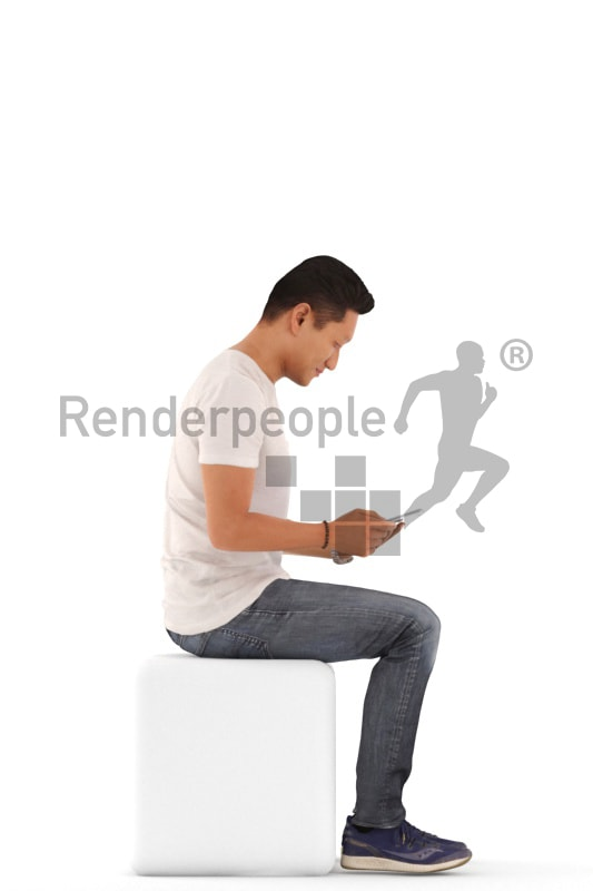 3d people casual, asian 3d man sitting and looking at his tablet computer