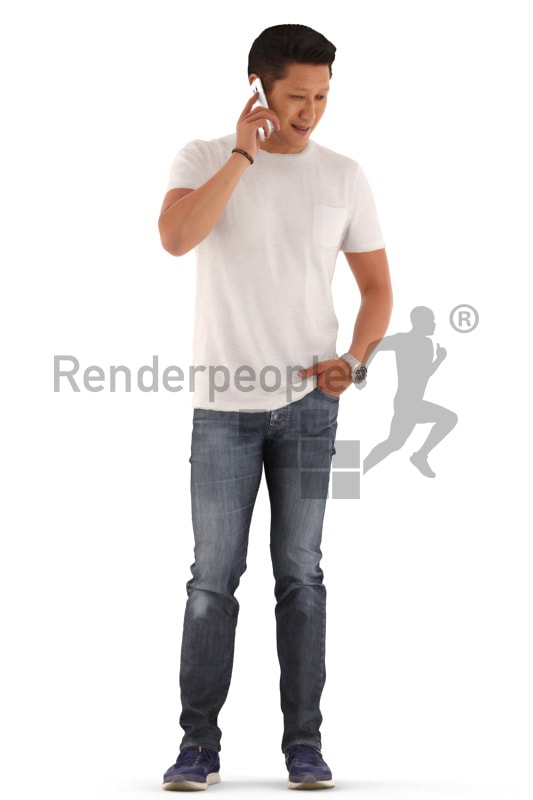 3d people casual, asian 3d man standing and calling somebody