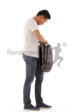 3d people casual, asian 3d man standing and searching in his bag
