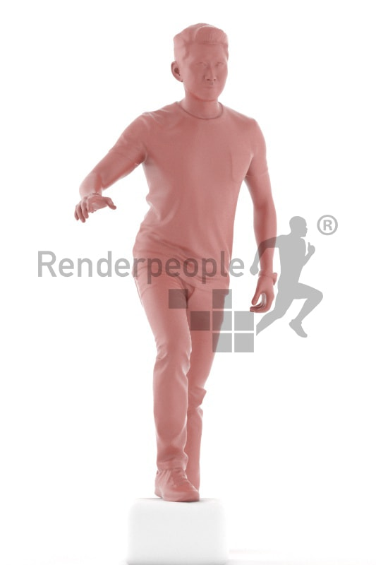 3d people casual, asian 3d man climbing stairs