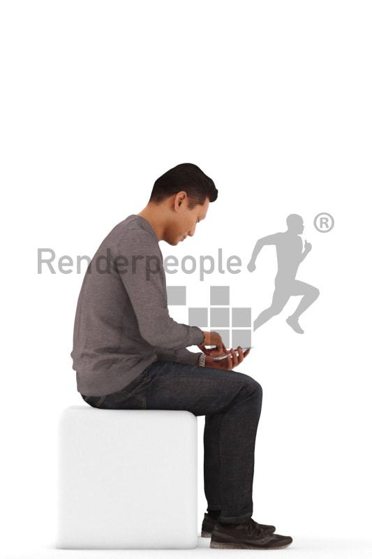 3d people casual, asian 3d man sitting and typing on his smartphone