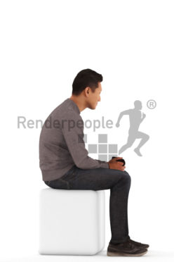 3d people casual, asian 3d man sitting and holding a cup of coffee
