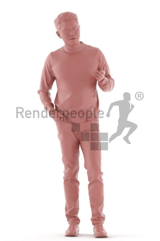 3d people casual, asian 3d man standing and talking