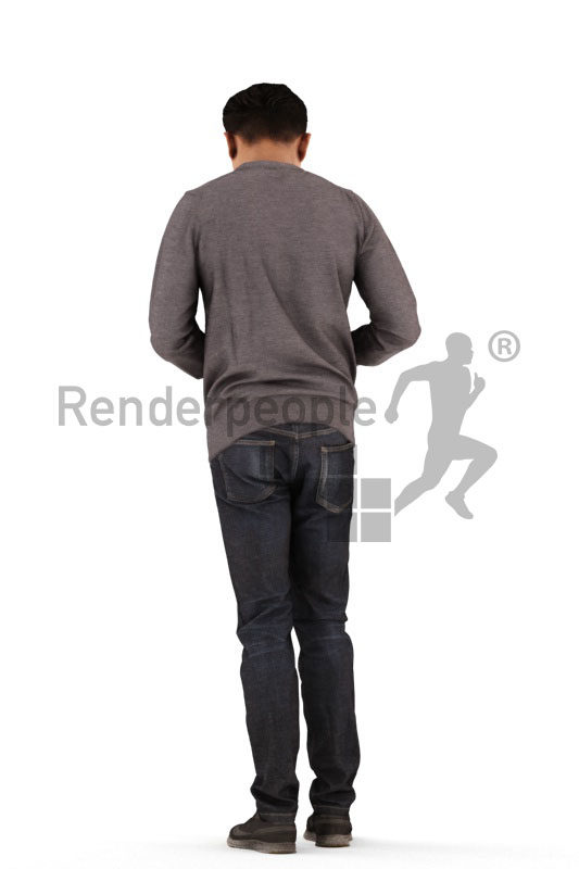 3D People model for 3ds Max and Cinema 4D – asian man in casual clothes, looking into his wallet