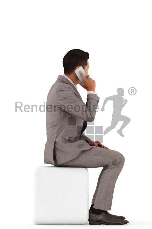3d people business, asian 3d man sitting and talking