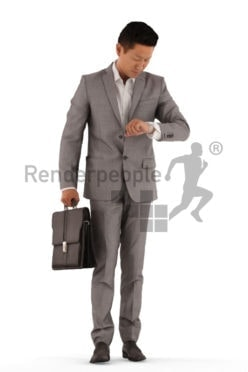 3d people business, asian 3d man standing and checking the time