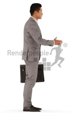 3d people business, asian 3d man standing and shaking hands