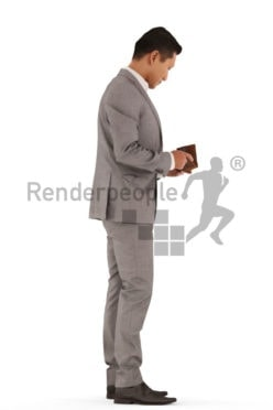 3d people business, asian 3d man standing and looking into purse