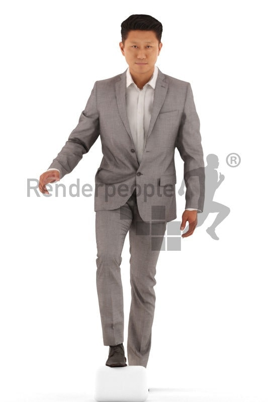 3d people business, asian 3d man walking upstairs