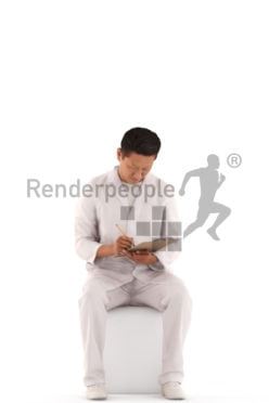 3d people service, laboratory asian 3d man sitting and taking notes