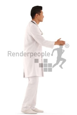 3d people service, hospital asian 3d man standing and shaking hands