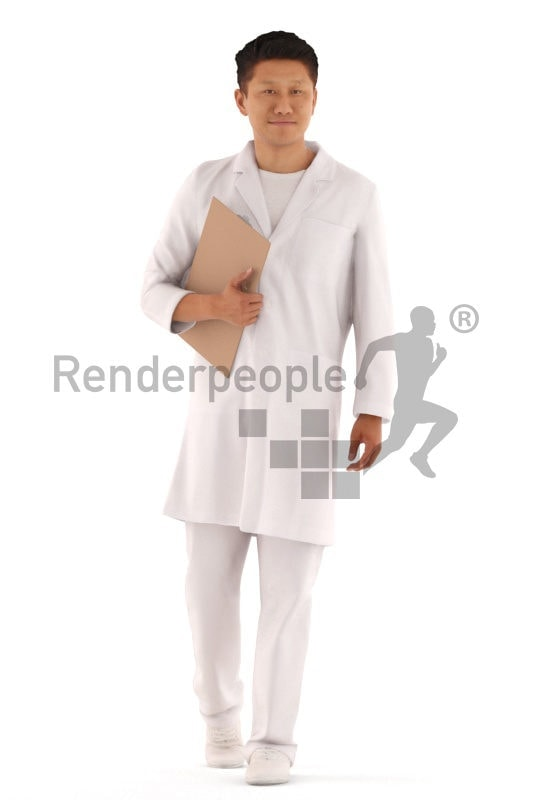 3d people service, hospital asian 3d man walking