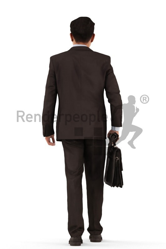 3d people business, asian 3d man walking and holding a briefcase