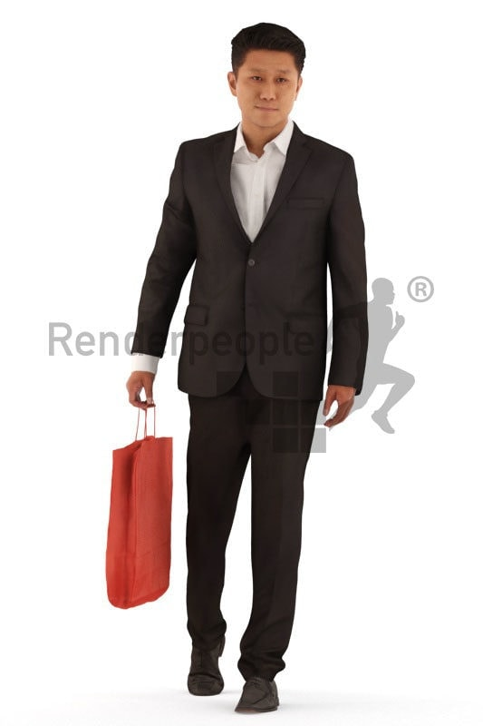 3d people business, asian 3d man walking and shopping