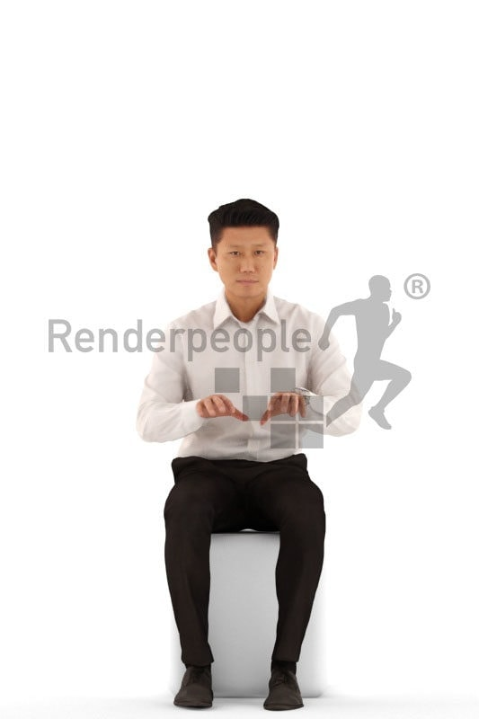 3d people business, asian 3d man sitting and typing